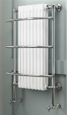 KIRBY SEBASTIAN VICTORIA PREMIUM TALL MULTI CHROME & WHITE BATHROOM WALL MOUNTED TRADITIONAL TOWEL RAIL/WARMER, RT09