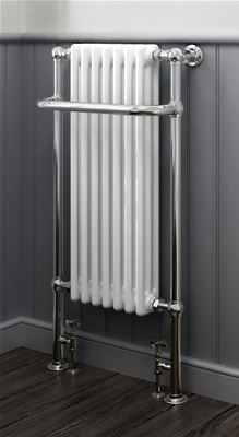 KIRBY SEBASTIAN VICTORIA PREMIUM TALL CHROME & WHITE BATHROOM TRADITIONAL TOWEL RAIL/WARMER, RT10