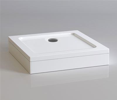 KIRBY SEBASTIAN STONE RESIN 700mm x 700mm SQUARE SHOWER TRAY with LEG & PANEL SET, S0707SET