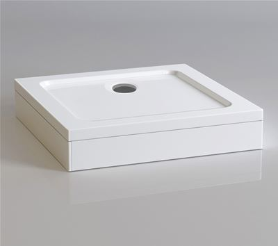 KIRBY SEBASTIAN STONE RESIN 800mm x 800mm SQUARE SHOWER TRAY with LEG & PANEL SET, S0808SET
