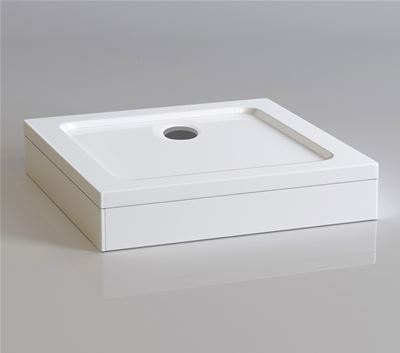 KIRBY SEBASTIAN STONE RESIN 1000mm x 1000mm SQUARE SHOWER TRAY with LEG & PANEL SET, S1010SET