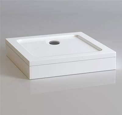 KIRBY SEBASTIAN STONE RESIN 760mm x 760mm SQUARE SHOWER TRAY with LEG & PANEL SET, S7676SET