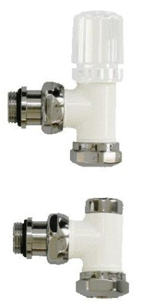 AEON/ULTRAHEAT DECOR WHITE & CHROME ANGLED RADIATOR VALVES, UDW850 (Pair)