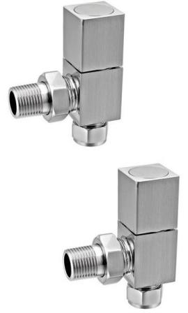 CLEARANCE REINA BRUSHED RICHMOND SQUARE ANGLED RADIATOR VALVES, VLV-RIC/AS