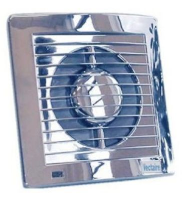 VECTAIRE 'AS' CHROME HUMIDISTAT, TIMER, NEON 15cm BATHROOM/KITCHEN SLIMLINE AXIAL EXTRACTOR FAN, AS15HTCr