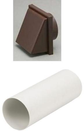 HAFELE 120mm BROWN COWLED RIGID DUCTING KIT, 1241B/51350
