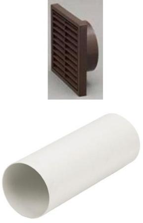 HAFELE 120mm BROWN LOUVRED RIGID DUCTING KIT, 1172LB/51350