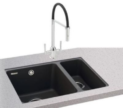 CARRON PHOENIX FIJI 150-16 UNDERMOUNTED JET BLACK GRANITE SINK, 150-16