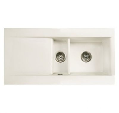 RAK GOURMET DREAM SINK 1 - INSET WHITE 1.5 BOWL CERAMIC SINK with REVERSIBLE DRAINER, DSINK1