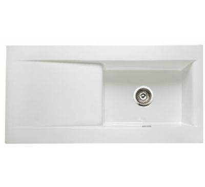 RAK GOURMET DREAM SINK 2 - INSET WHITE SINGLE BOWL SINGLE DRAINER CERAMIC SINK with REVERSIBLE DRAINER, DSINK2