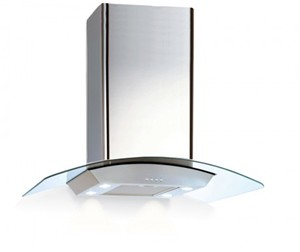 VECTAIRE ISLA GAMMA STAINLESS STEEL & CURVED GLASS KITCHEN 90cm ISLAND CANOPY EXTRACTOR, ISLAGAMMAGL