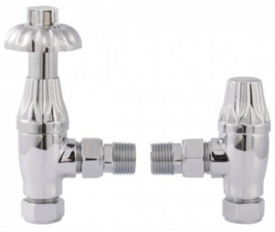 HUDSON REED TRADITIONAL THERMOSTATIC ANGLED CHROME ANGLED RADIATOR VALVE PACK, RV007
