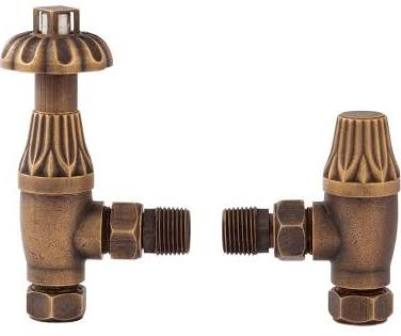 HUDSON REED TRADITIONAL THERMOSTATIC ANGLED ANTIQUE BRASS ANGLED RADIATOR VALVE PACK, RV006