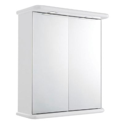CLEARANCE ULTRA PREMIER NICHE GLOSS WHITE BATHROOM 2 DOOR/DOUBLE ILLUMINATED MIRRORED WALL CABINET, LQ387/PP822