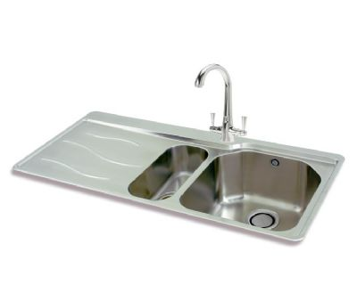 CARRON PHOENIX MAUI 150 INSET POLISHED STAINLESS STEEL SINK L/H DRAINER, 150