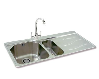 CARRON PHOENIX MAUI 150 INSET POLISHED STAINLESS STEEL SINK R/H DRAINER, 150