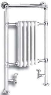 REINA OXFORD CHROME & WHITE BATHROOM TRADITIONAL TOWEL WARMER, RND-OXF01