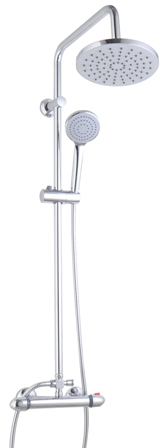 CASSELLIE LAGOS MINIMALIST CHROME EXPOSED THERMOSTATIC BAR SHOWER VALVE & ADJUSTABLE RIGID RISER KIT, SK007