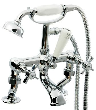 CASSELLIE TIME CHROME TRADITIONAL CRANKED BATH SHOWER MIXER TAP, TIM001