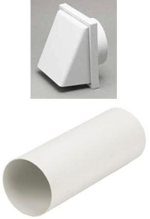 HAFELE 120mm WHITE COWLED RIGID DUCTING KIT, 1241W/51350