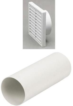 HAFELE 100mm WHITE LOUVRED RIGID DUCTING KIT, 1151W/41350